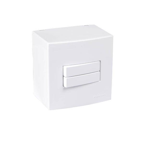 caixa de sobrepor com interruptor duplo branca