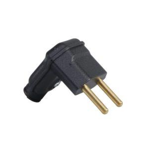Plugue desmontável 2P 10A preto compatível com diversos tipos de cabos disponíveis no mercado