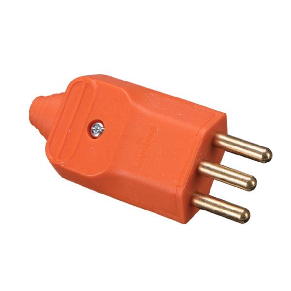 plugue desmontável 2P+T 180º 20A compatível com diversos tipos de cabos
