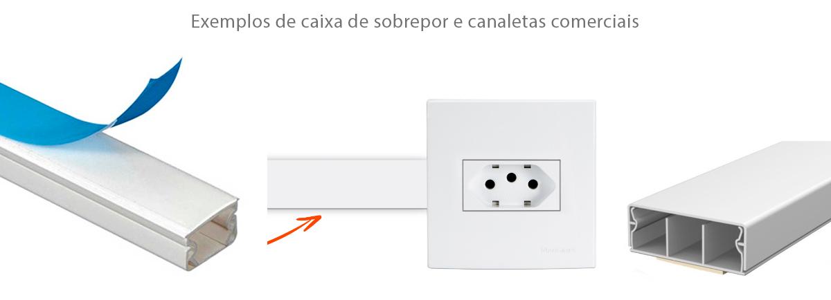 Exemplo de caixa de sobrepor e canaletas