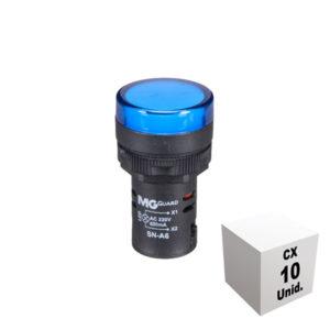 Sinaleiro monobloco 220 VCA azul 10 unidades