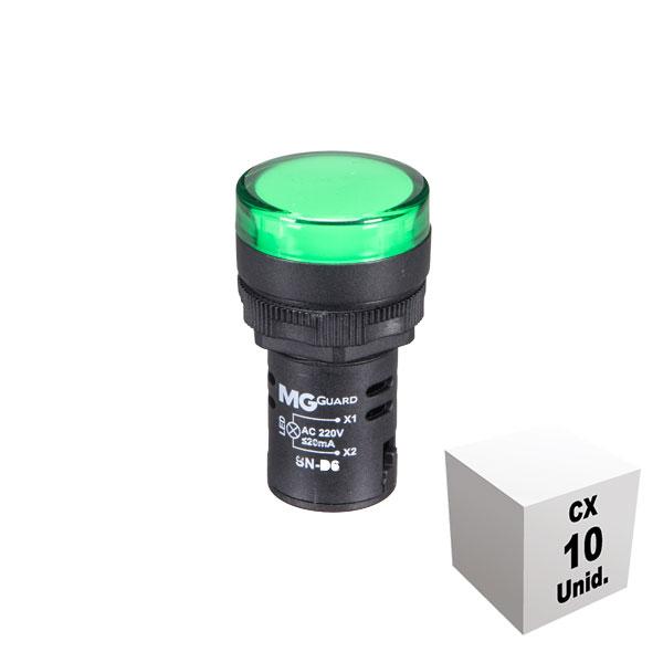 Sinaleiro monobloco 220 VCA verde 10 unidades