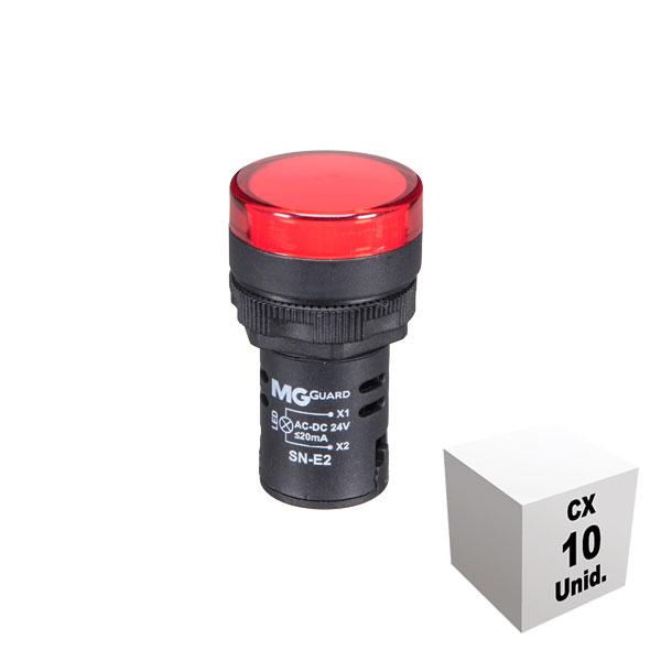 Sinaleiro monobloco 24 VCA/VCC vermelho 10 unidades