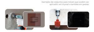 conjunto interruptor e tomada para drywall e pedra