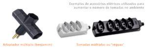 exemplo de acessórios elétricos: benjamim, adaptadores ou regua eletrica