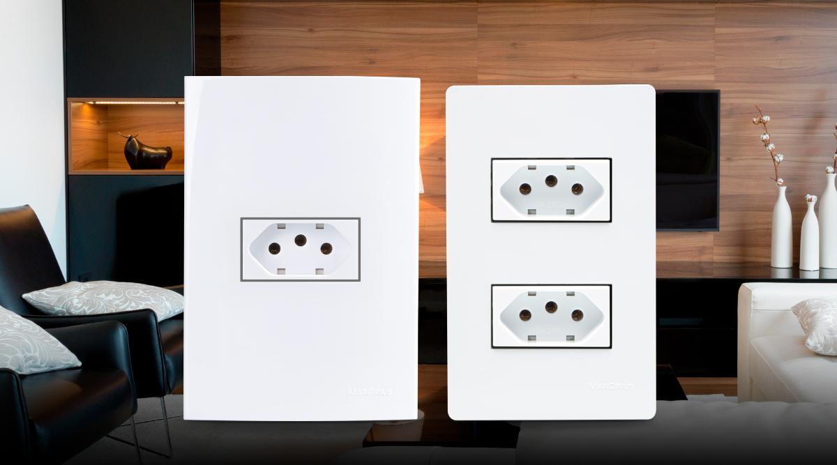 conjunto de tomadas montada em placas linha sleek e linha B3