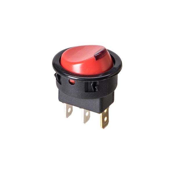 interruptor redondo com lente vermelha e função liga/desl.