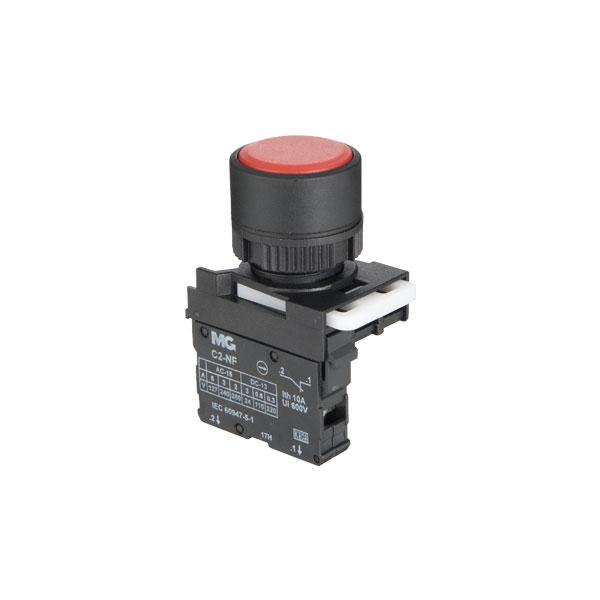 botão faceado simples vermelho