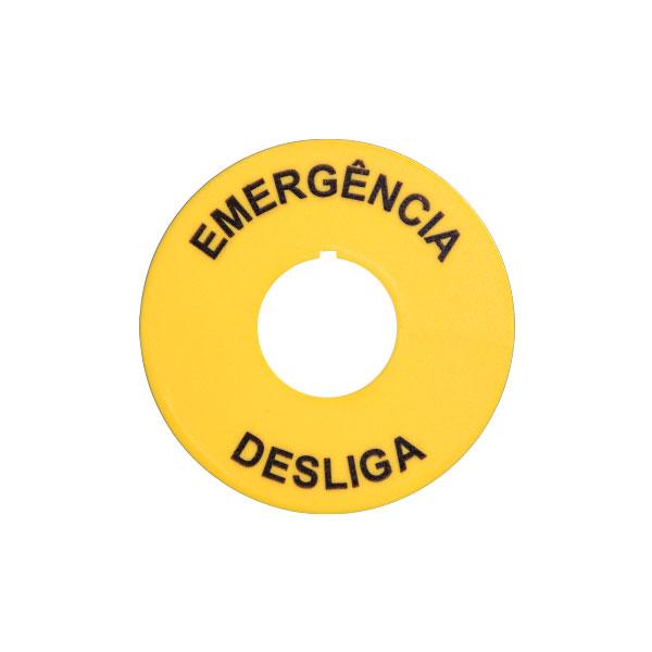 plaqueta para botão de emergência