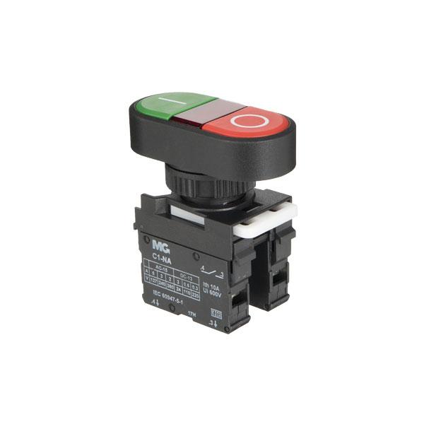 botoeira com botão duplo verde e vermelho e visor vermelho com gravação 0/I