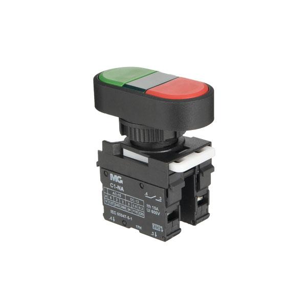botoeira com botão duplo verde e vermelho com visor verde 1NA+1NF sem gravação