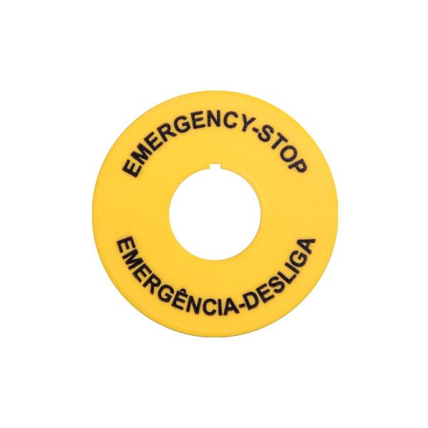 plaqueta para botão de emergência portugues/ingles