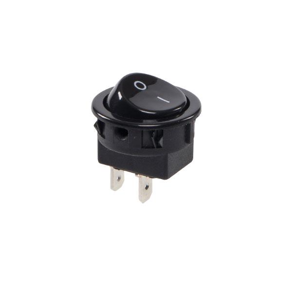 interruptor redondo na cor preta com gravação 0/l - liga/desl.