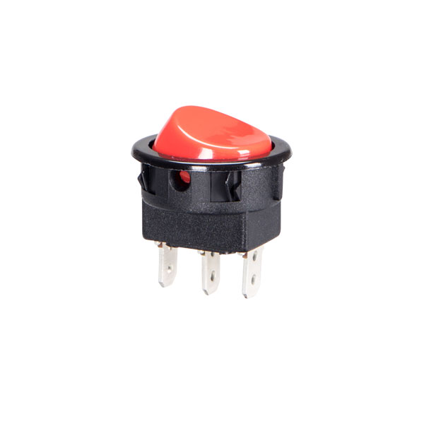 interruptor redondo com tecla vermelha liga/desl./liga