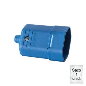 Tomada desmontável na cor azul 2 pinos 10A - Plástica 1 unid.