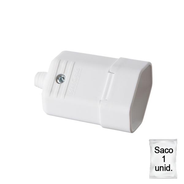 Tomada desmontável na cor branco 2 pinos 10A - plástica 1 unid.
