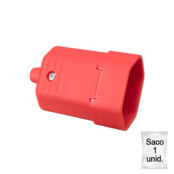 Tomada desmontável na cor vermelho 2 pinos 10A - plástica 1 unid.