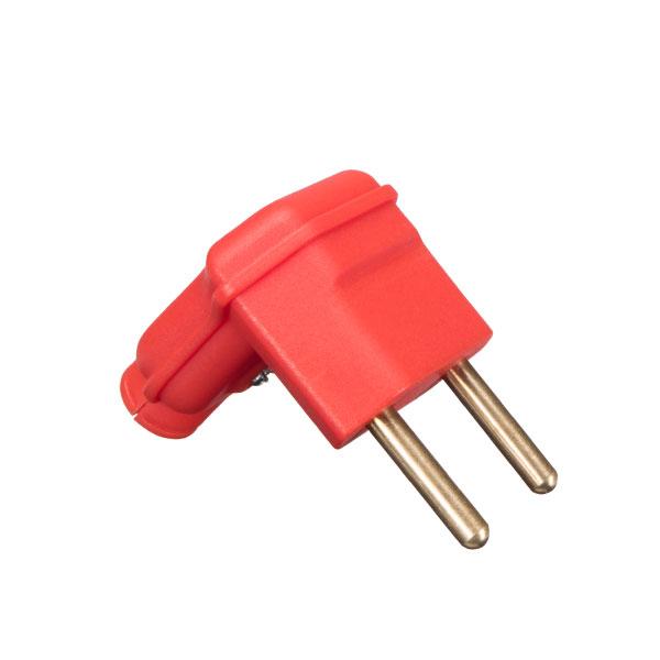 Plugue desmontável 2P na cor vermelho em 90 graus 10A