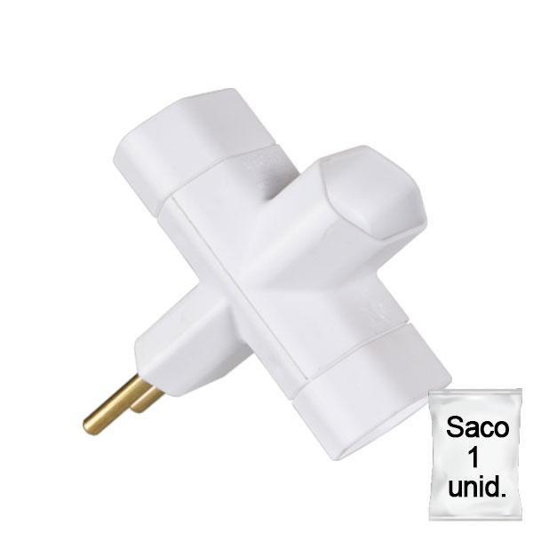 adaptador benjamim bicolor 10A saco 1 uni branco