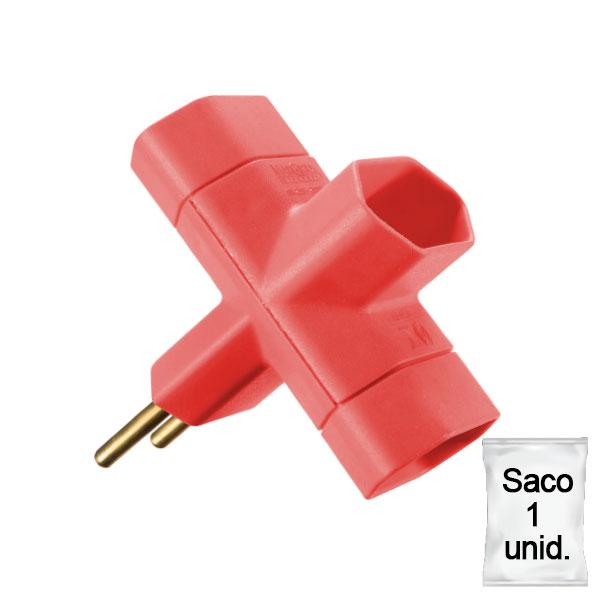 adaptador benjamim 10A saco 1 uni vermelho