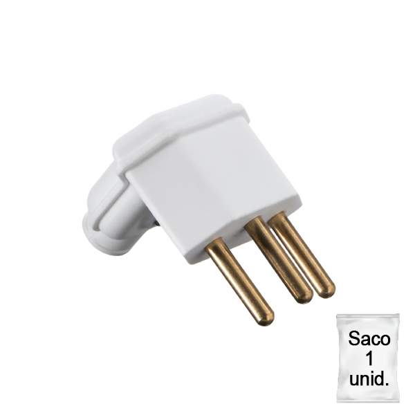 plugue desmontável na cor branco de 90 graus - 10A -plástica 1 unid.