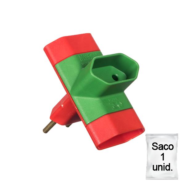 adaptador benjamim 10A saco 1 uni vermelho e verde