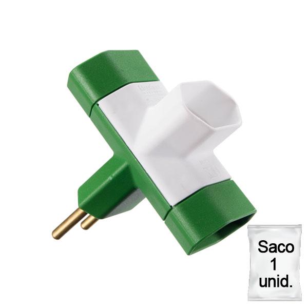 adaptador benjamim 10A saco 1 uni verde e branco
