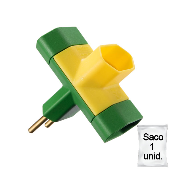 adaptador benjamim 10A saco 1 uni verde e amarelo