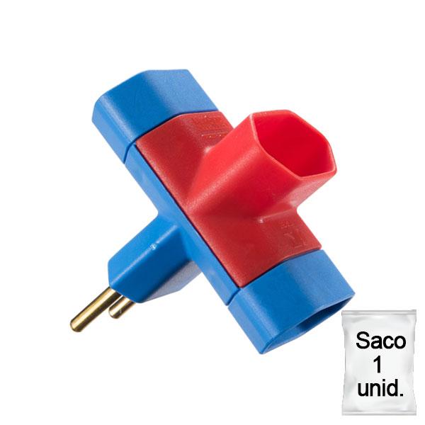 adaptador benjamim 10A saco 1 uni azul e vermelho