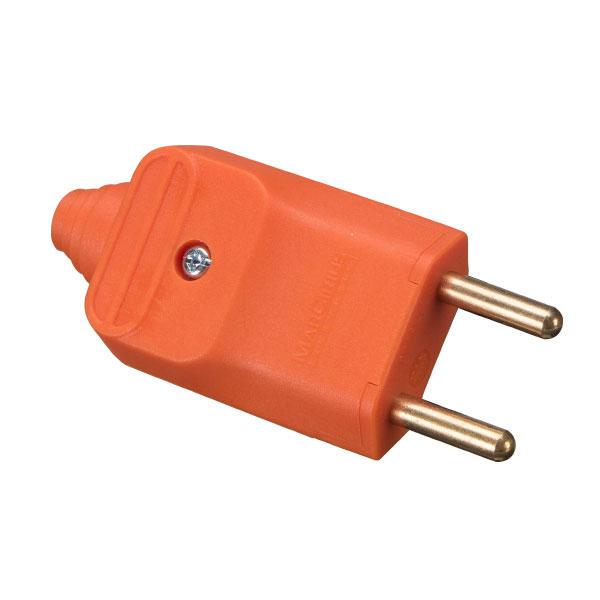 Plugue desmontável 2p 180 graus 20a na cor laranja