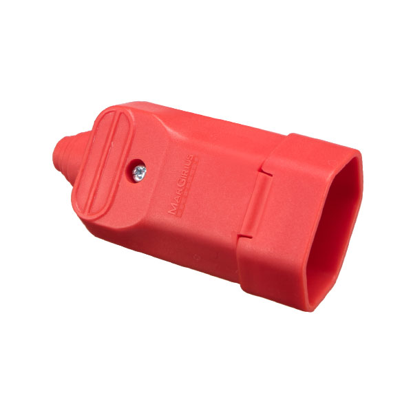 Tomada desmontável fêmea 2P com prensa cabos 20a na cor vermelho