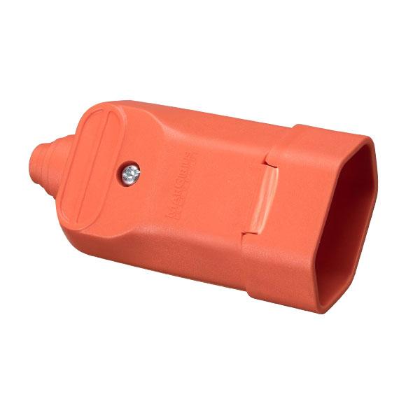 Tomada desmontável fêmea 2P+T com prensa cabos 20a na cor laranja