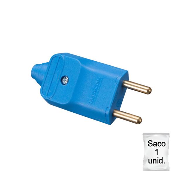 Plugue desmontável 2p 180 graus 20a na cor azul