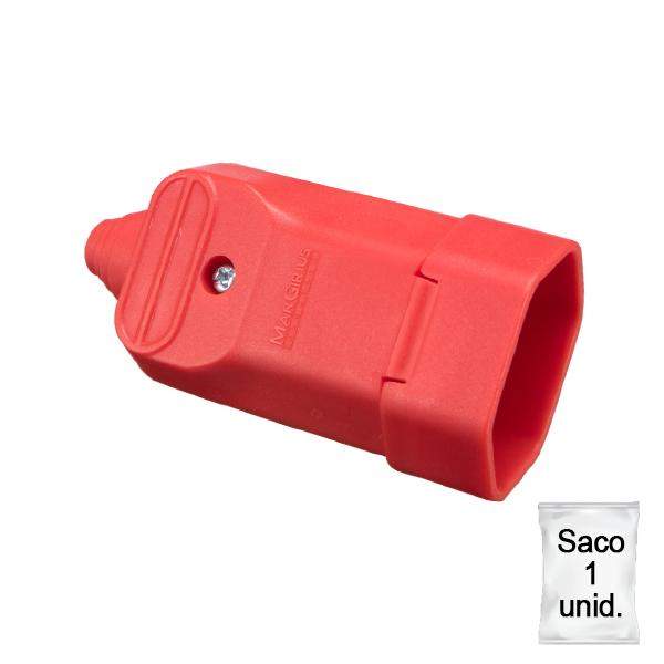 Tomada desmontável fêmea 2P+T com prensa cabos 20a na cor vermelho