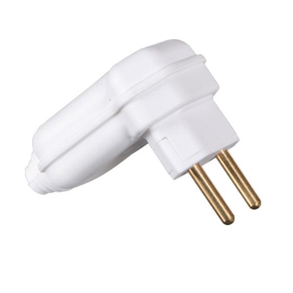plugue desmontável de 90 graus na cor branco com prensa cabos
