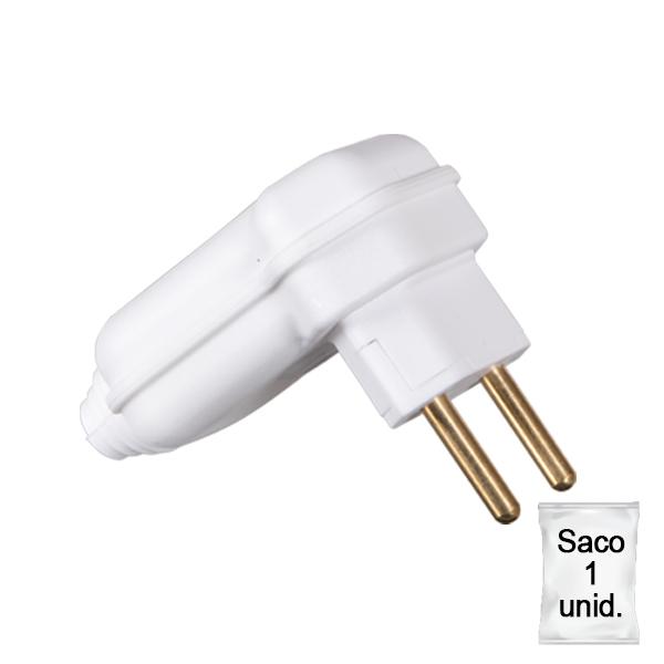 plugue desmontável de 90 graus na cor branco com prensa cabos - plástica 1 unid