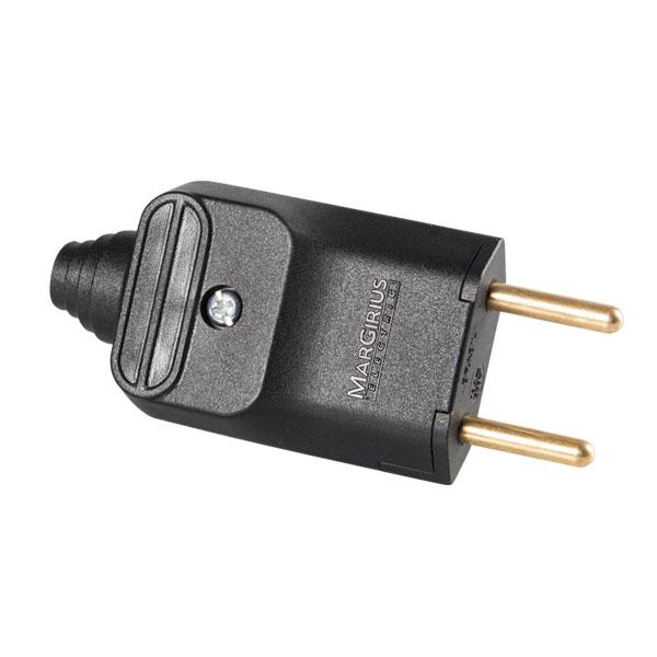 plugue desmontável de 180 graus com prensa cabos 2 pinos na cor preto - a granel