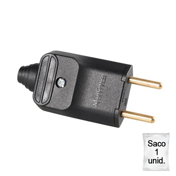 plugue desmontável de 180 graus com prensa cabos 2 pinos na cor preto - plástica 1 unid.
