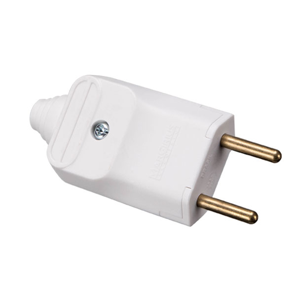 plugue desmontável de 180 graus com prensa cabos 2 pinos na cor branco - a granel