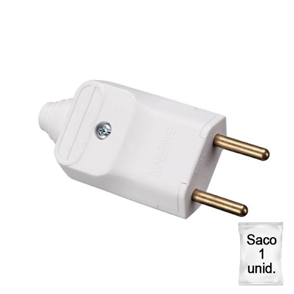 plugue desmontável de 180 graus com prensa cabos 2 pinos na cor branco - plástica 1 unid.