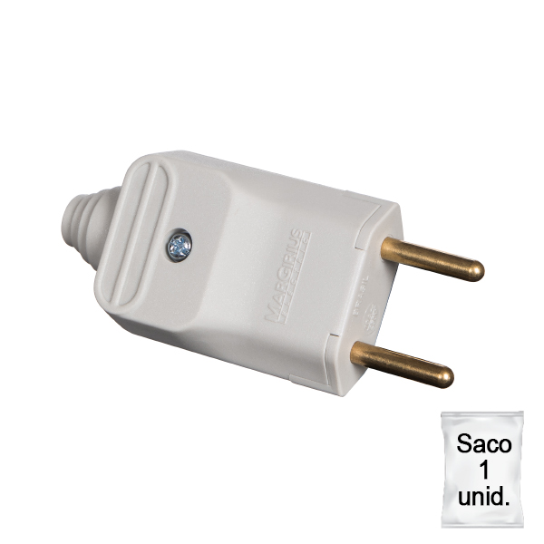 plugue desmontável de 180 graus com prensa cabos 2 pinos na cor cinza - plástica 1 unid.