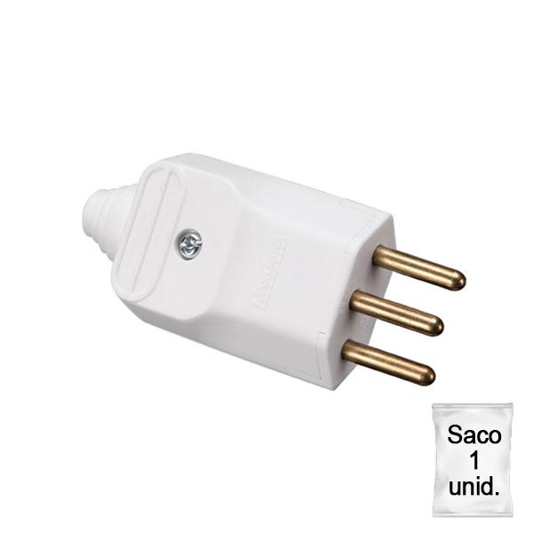 Plugue desmontável 2p+t 180 graus 10a - branco em plástica 1 unid.