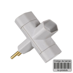 adaptador 2p 10A com codigo de barras cinza
