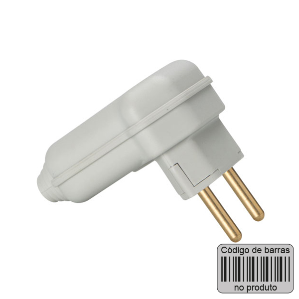 plugue desmontável de 90 graus na cor cinza com prensa cabos e código de barras
