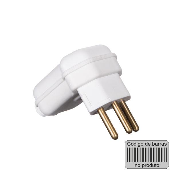 plugue desmontável com 3 pinos na cor branco - com código de barras