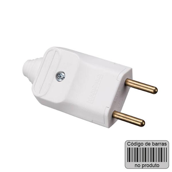 plugue desmontável de 180 graus com prensa cabos 2 pinos na cor branco - código de barras