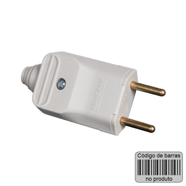plugue desmontável de 180 graus com prensa cabos 2 pinos na cor cinza - código de barras