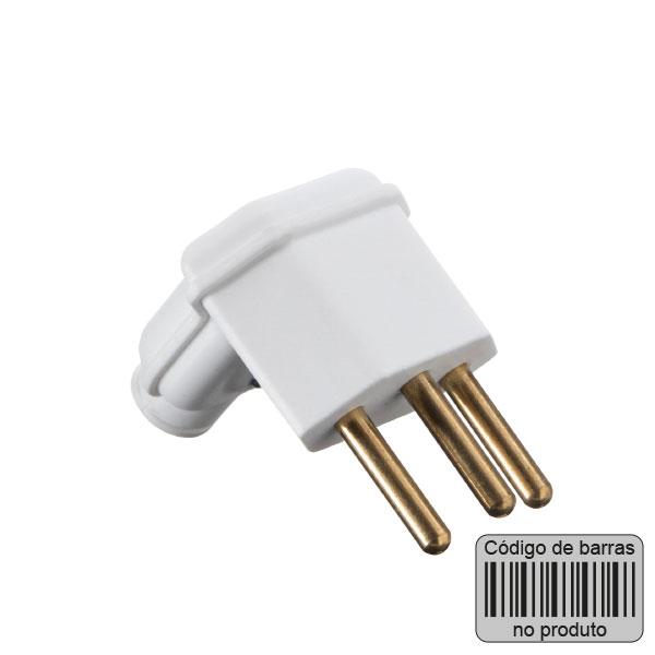 plugue desmontável na cor branco de 90 graus - 10A com código de barras