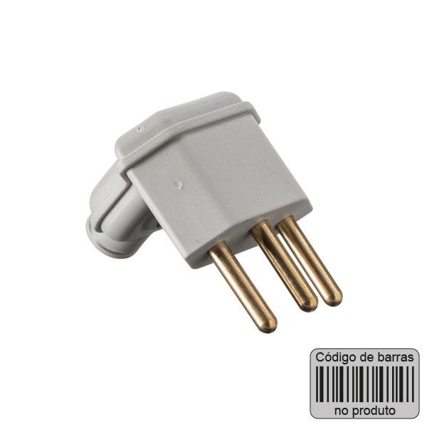 plugue desmontável na cor cinza de 90 graus - 10A com código de barras